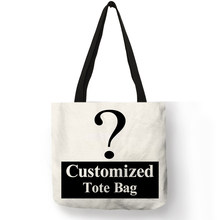 Personal Customize Women Tote Bag Linen Canvas Bag With Print Logo Custom Your Pictures Shopping Bags Cotton(China)