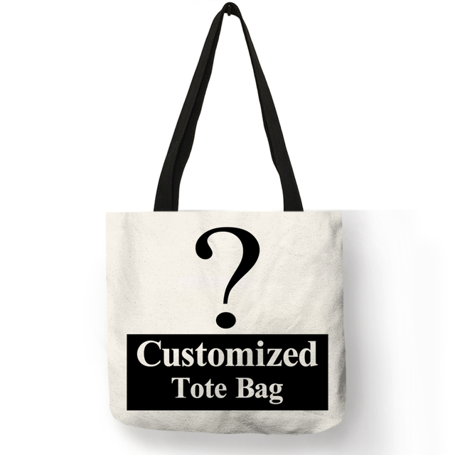 Personal Customize Women Tote Bag Linen Canvas Bag With Print Logo Custom Your Pictures Shopping Bags Cotton