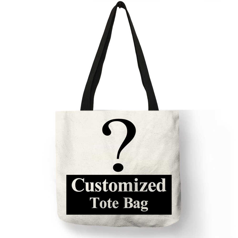Pribadi Menyesuaikan Wanita Tas Tote Linen Kanvas Tas dengan Cetak Logo Kustom Gambar Anda Belanja Tas Katun