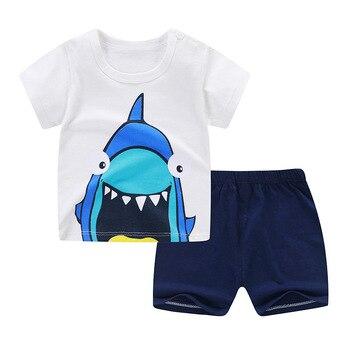 Cartoon Shark New Born Baby Boy Fashion Clothing Outfits Baby Girl Casual Clothing Sets