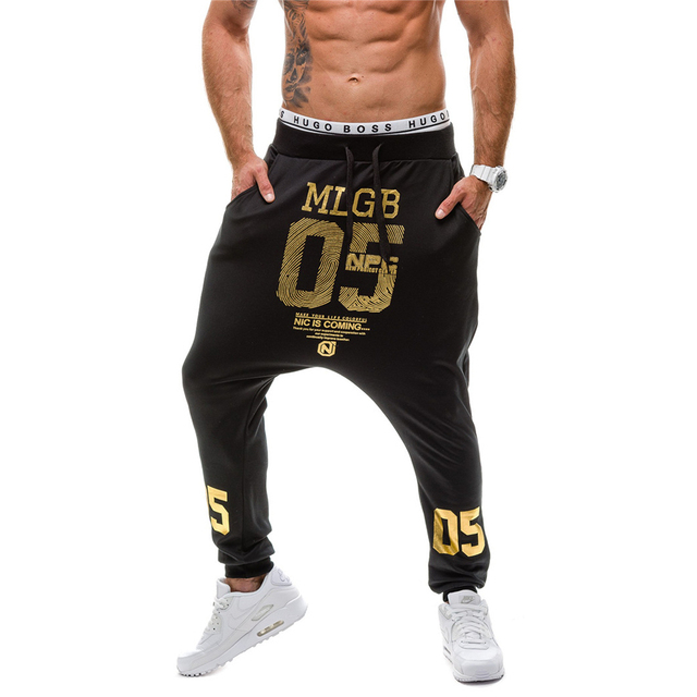 men stretch pants 2016 Top Fashion Harem Pants Men Hip Hop Pocket Drawstring Sweatpants Drop Crotch Pants Men M-2XL D049