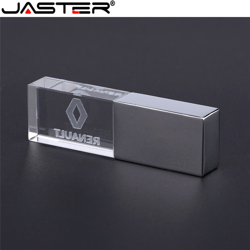 JASTER Renault Crystal + Metal USB Flash Drive Pendrive 4GB 8GB 16GB 32GB 64GB 128GB External Storage Memory Stick U Disk