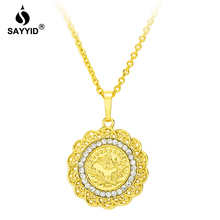 все цены на Middle East Saudi Arabia Hot Sale Badge Pendant Necklace for Women's Fashion Plating yellow gold color inlay Rhinestone Necklac онлайн