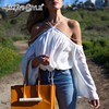 TWOTWINSTYLE Off Shoulder Chiffon Women S Blouse Shirts White Lace Up Halter Top Sexy Lantern Sleeve
