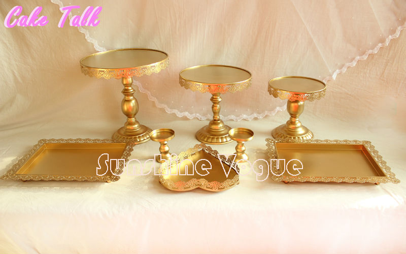 Product name Gold cake stand & Gold Iron metal cake stand set 8pieces wedding cupcake tray plate ...