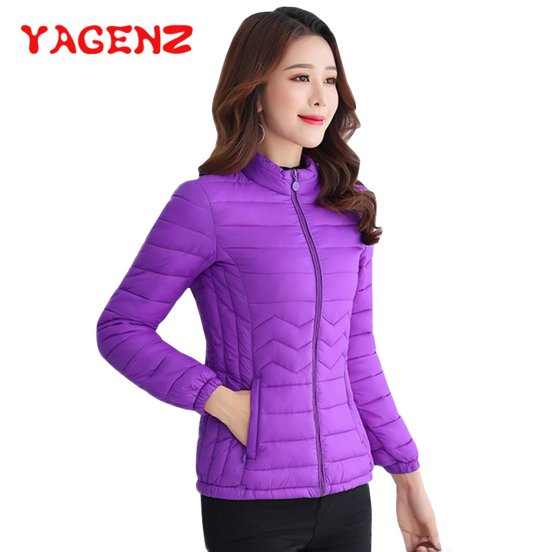 YAGENZ Thin Cotton Down Jacket Short Tops Winter Jacket Women Slim Plus size Female   Parkas   Coat Wave pattern Padded Jackets 182