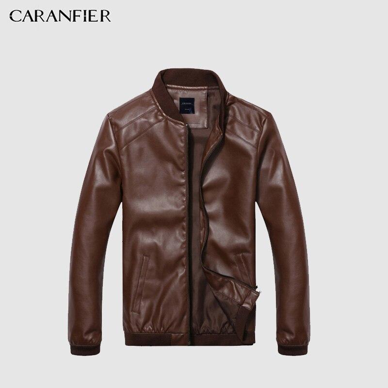 CARANFIER chaqueta de cuero chaqueta delgada del otoño del resorte los hombres Slim Fit calidad superior Boutique marca Casual denim Chaquetas moda