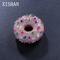 Bling Doughnut Necklaces Pendants For Women Men Round Donut AAA Iced Out CZ Stone Necklaces Sweet Buns Charm Jewelry Gift
