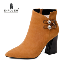 Women Boot Female Leather Shoes Boots High Heel Genuine Leather Side Zip Ankle Boots Ladies Round Toe Short Warm Velvet Booties hot new square toe women ankle boots black patent leather short booties high heel side zip luxury brand super star runway shoes