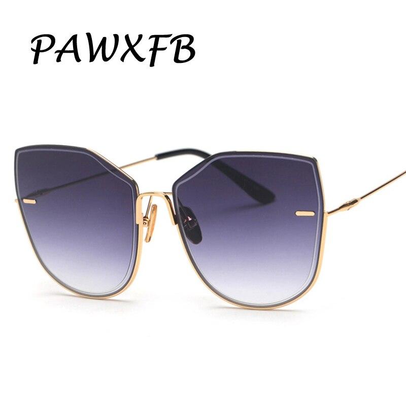 PAWXFB Brand Rimless Square Sunglasses Women Men Alloy Frame Gray  Gradient Adult Glasses lunettes de soleil Shades