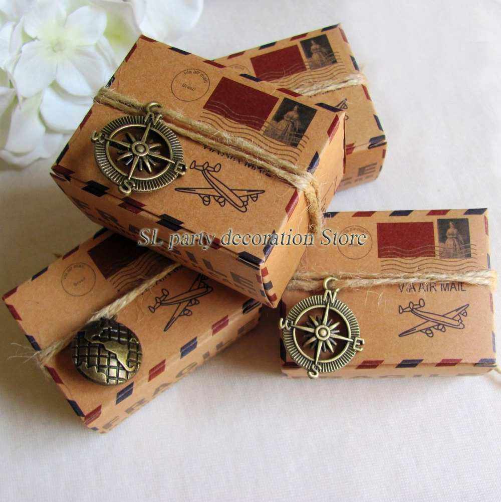 50pcs Rustic Inspired Airmail Favor Box Kit Travel Theme Airplane Air Mail Wedding Favors Gift Boxes with Compass Globe charms