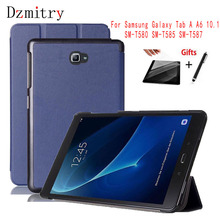 Slim Folding Stand Cover for 2016 Samsung Galaxy Tab A A6 10.1 SM-T580 T585 T587 T580N Tablet protective Case+film+Touch pen cowboy pattern case for samsung galaxy tab a a6 10 1 2016 t580 t585 sm t580 t580n case cover funda tablet stand protective shell