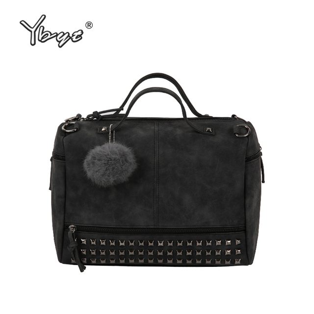 YBYT brand 2018 new fashion casual women handbag hotsale ladies large capacity solid rivet bag shoulder messenger crossbody bags