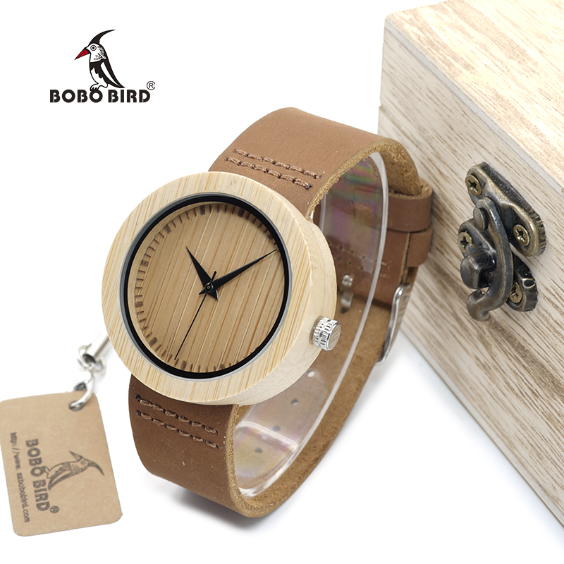 BOBO BIRD WA08 Brand Design Luxury Bamboo Women Watches With Real Leather Band Quartz Watch in