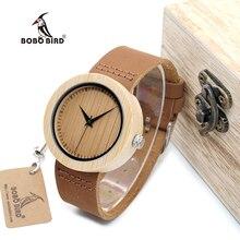 BOBO de AVES WA08 Marca de Diseño de Lujo De Bambú de Las Mujeres Relojes Con Real Banda de cuero de Cuarzo Reloj en Caja De Regalo Reloj mujer Aceptar OEM