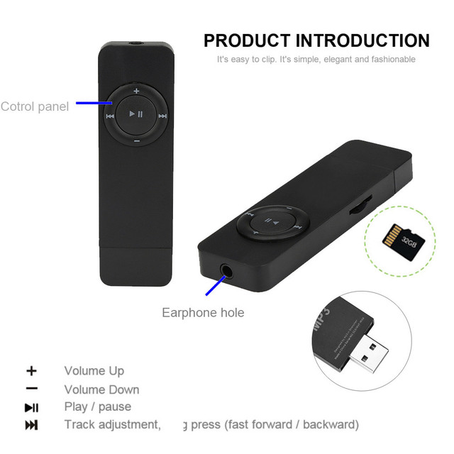 Portable Strip Sport music Lossless Sound Music Media MP3 Player with headphones Support Micro TF Card
