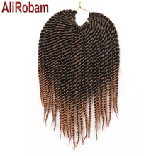 AliRobam 12Inch Senegalese Twist Ombre Color Braid Hair Synthetic Crochet Braids Hair Extension For Braiding 22Roots/pack vogue twisted rope braid silver ombre white long synthetic hair extension for women