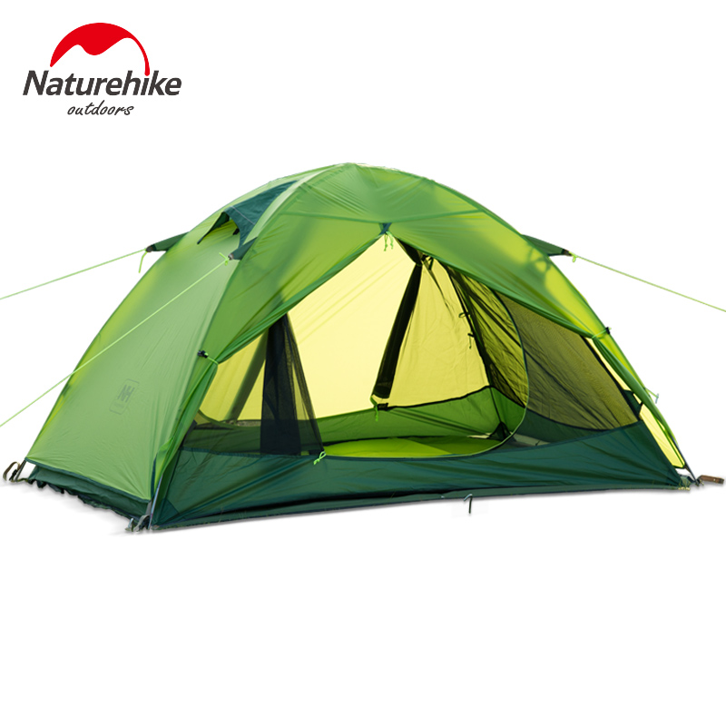 NatureHike 205*190*110 cm Tent Camping 2 Person Waterproof Double Layer Outdoors Camping Durable Gear Picnic Tents dhl free shipping naturehike factory sell double person waterproof double layer camping durable gear picnic tent 20d silicone page 7