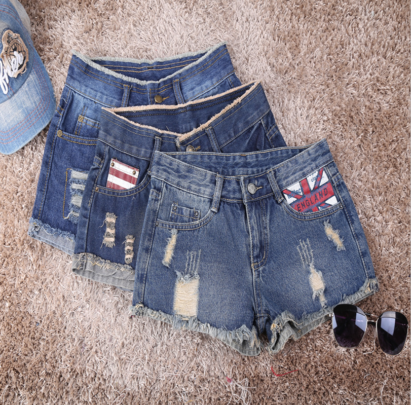 New Casual printed hole short female summer thin loose large size burr retro sexy denim shorts lady women Short Jeans Z2258