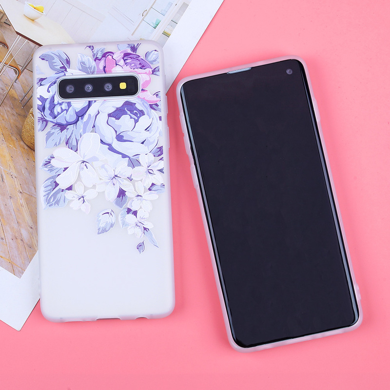 Image 2 - 3D Relief Soft TPU Cases For Samsung Galaxy S10 Flowers Covers For S7 Edge S8 Plus S9 Plus S10  Lite Plus Note 9 Silicone Capas-in Fitted Cases from Cellphones & Telecommunications