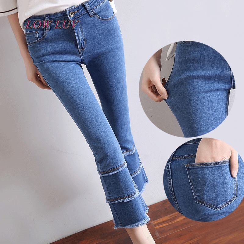 2017 European Style Women Navy Blue Denim Pants Bell Bottoms Ripped Fringes Elastic Waist Flare Long Trumpet Jeans Pants zh046