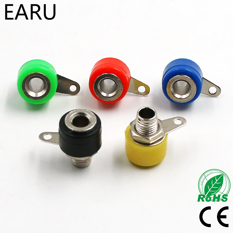 10pcs/lot 4mm Banana Binding Post 4mm Banana Socket Free Shipping 5color/lot Plug Adapter DIY Red Green Yellow Black Blue