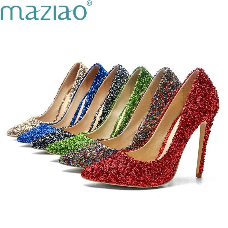 Grande Peu or Chaussures Pointu Mary Chaussure Bouche Maziao vert Profonde rouge Féminine Taille Amende Bout Talon Jane Élégant Dames bleu Partie Noir colorful CxedBroW