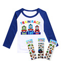2016 girls t shirts Thomas train and his lovely friends pattern boys clothes full Sleeve  T-shirt cotton and Lycra boys clothing