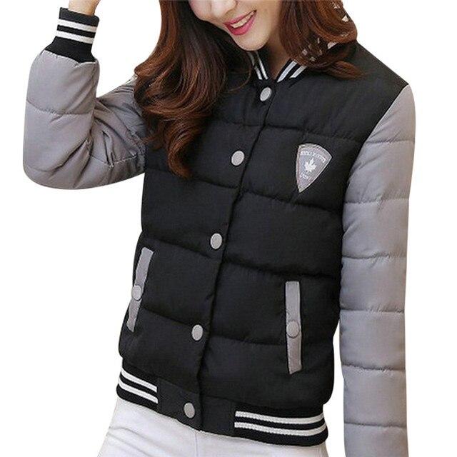 2016 Winter jacket Women Down Coat Warm Parka Patchwork Long Sleeve Womens Jackets And Coat Outwear Femal Parkas Manteau Femme