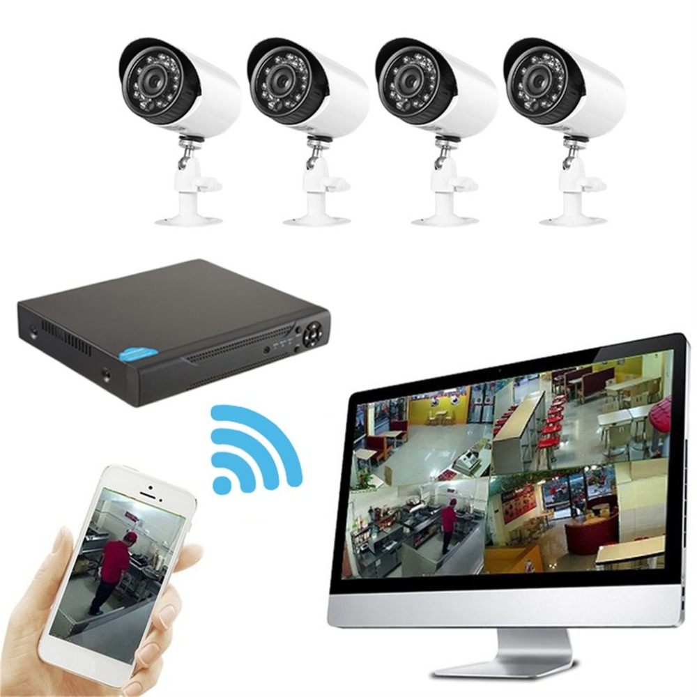 4 Channels Mobile DVR Network Hybrid Digital Smart Video Recorder CCTV Surveillance DIY Kit With 2.0MP Coaxial Cameras