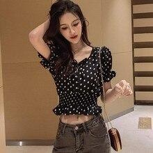Women Fashion Polka Dot Shirt Korean V Neck Summer Crop Tops Harajuku Chiffon Blouse Casual Ruffle Short Sleeve blusas femininas
