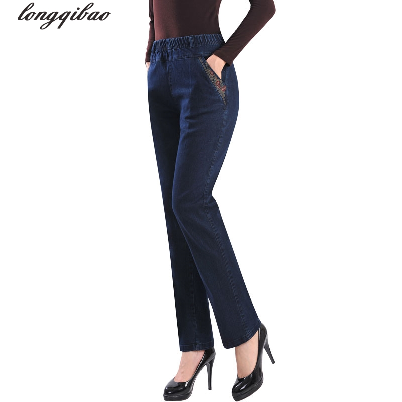 Middle and old spring and summer new high waist cowboy trousers loose straight pants large size pants TB7375