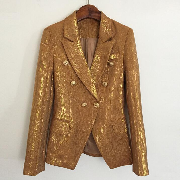 Runway Designers Blazer Women 2019 Luxury Jacket Coat Chic Blazers Long Sleeve Stage Shiny Gold Lions Double Breasted Lady Tops