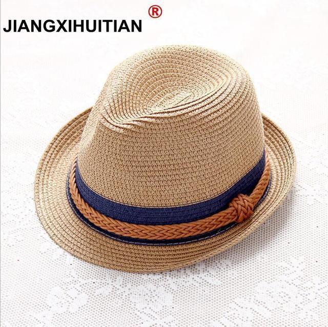 68e239750be 2018 Summer Jazz Women Straw Hat Beach Men Sun Hat Casual Panama Male Cap  Hemp Rope Patchwork Striped Straw Hat Visor Cap