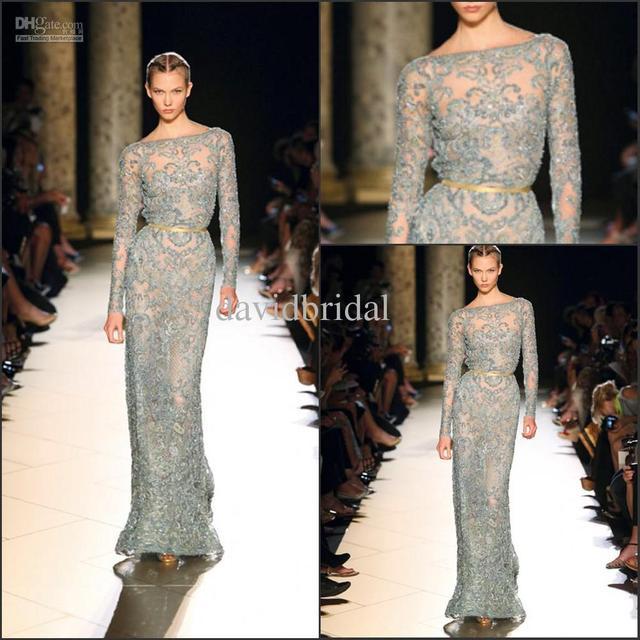Hot Sale Sage Long Sleeve Lace Elie Saab Formal Evening Dresses ...