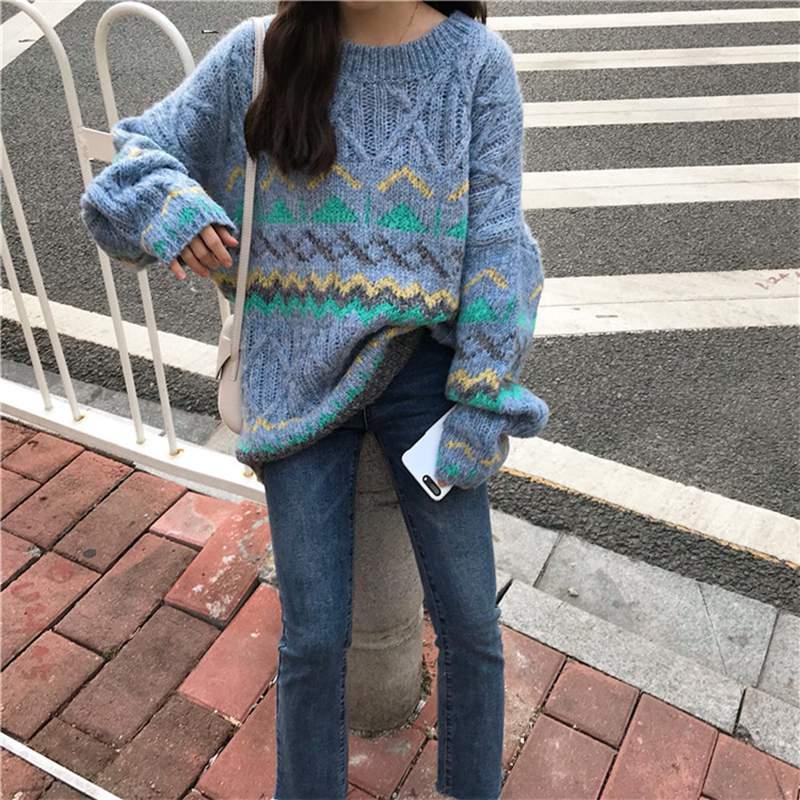 gray Tops Invierno Nueva cuello Blue Estudiantes Punto Pr574 Suéter Flojo O Mujeres Moda Casual Las Caliente 2019 Otoño Coreano De HwxBS5xZq