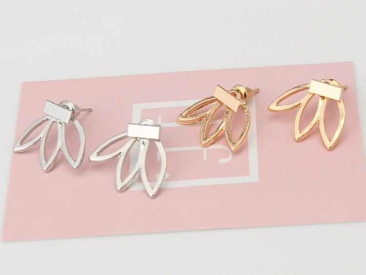 أقراط نسائية بسيطة من M عارية اللون باللون الذهبي والفضي أقراط على شكل زهرة اللوتس أقراط معدنية لامعة للفتيات من بيجو
