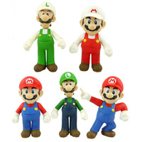 5 шт./компл. Super Mario Bros ПВХ Игрушка Рисунок Марио Луиджи фигурку