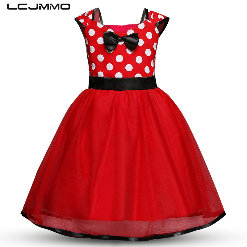 LCJMMO Kids Princess Summer Dresses For Girl Dress Party Christmas Baby Dress Bow Dot Prom Gown Vestido Children Clothing 1-5Y 2 15y girl dresses floral ball gown clothing for girls clothes children christmas princess summer girl party dress for kids