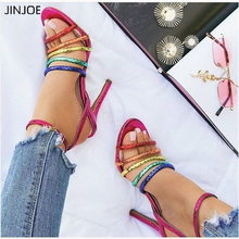 JINJOE women Sandals Summer Party Sexy Openwork Rainbow color ribbon High Heels Shallow Mouth Open Toe Stiletto Pointed