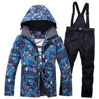Men Winter Outdoor Ski Wear Snow Windproof Jacket Pant Hooded Snowboard Suit Breathable Warm Sportswear Russia 30 Degree New
