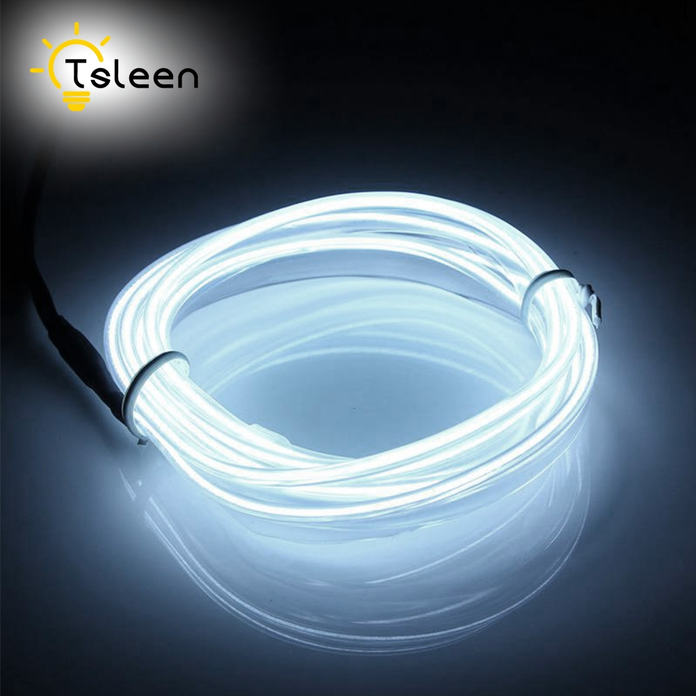 TSLEEN 2M 3M 5M 3V Battery Powered Neon Led Strip Light Glowing EL Wire String Strip Rope Tube Car Dance Party Decoration 1m 2m 3m 5m flexible waterproof led strip light neon light glow el wire rope tube cable eu power plug for party home decoration