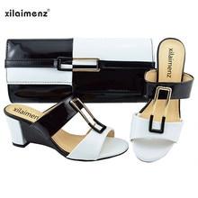 Zapatos nigerianos y bolsos para mujer, nuevo producto, descuento del 40%, juego Gran oferta, cuñas de moda, colores combinados, 2018