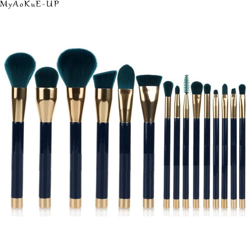 Makeup Tools Kit Brushes Set 15pcs/set Synthetic Cosmetic Blue Soft Brushes Eyebrow Comb Brush стоимость
