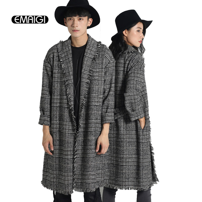 Men women trench coat spring autumn plaid cardigan trench jacket men's fashion casual punk style shawl outwear Q800