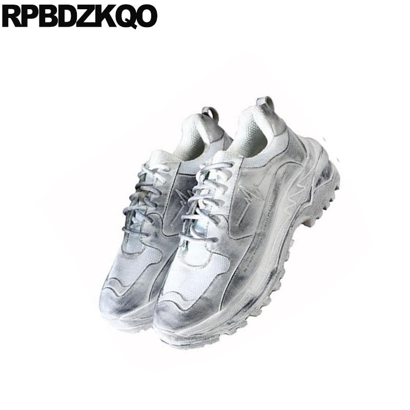 De Marca Calidad Alta Los Zapatos Blanco Pasarela Nuevo Lujo Deporte Zapatillas Plataforma Vaca Cuero Blancas Casuales Enredaderas Hombres Respirable q5dd1v