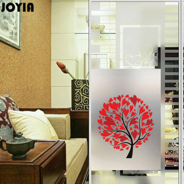 Frosted Decorative Window Film Bathroom Cupboard Glass Door Decor Abstract Red Luck Tree Films Size 50x70cm & Frosted Decorative Window Film Bathroom Cupboard Glass Door Decor ...