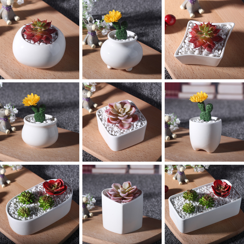 10 style ceramic flower pots wholesale white mini flower