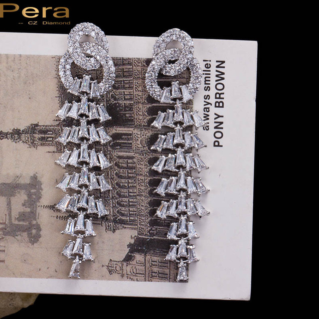 High Quality White Gold Plated Luxury Long Drop Cubic Zircon Created Diamond Big Dangling Earrings For Women Evening Party E033