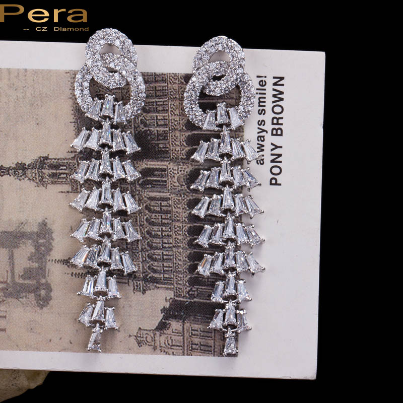 Pera High Quality Silver Color Jewellry Luxury Long Drop Cubic Zirconia Stone Big Dangling Earrings For